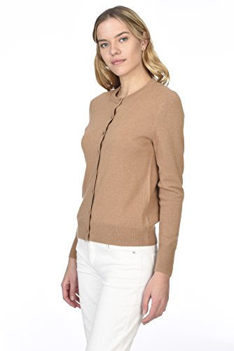 State Cashmere Women's 100% Pure Cashmere Button Front Long Sleeve Crew Neck Cardigan Sweater (X-Large, Cammello)