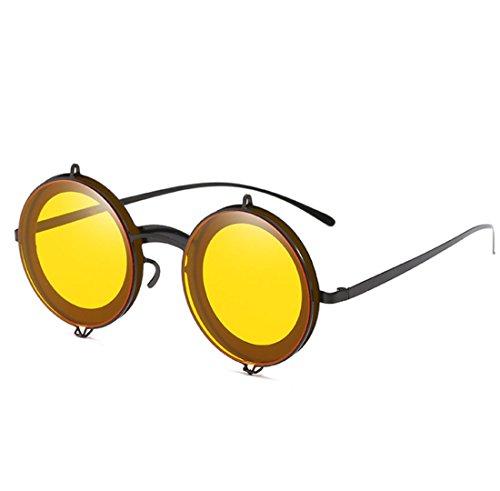De Personnalité Lunettes Masculine Rétro Rond Féminine Cadre Vent Tendance Soleil Et Yellow UV400 QQBL De Générale xIEfwqPv