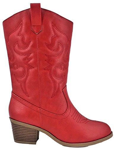 Karyns Collectie Bdw-14w Western Cowboy Cowgirl Middenkalf Puntschoen Gestikte Laarzen Rood Rood