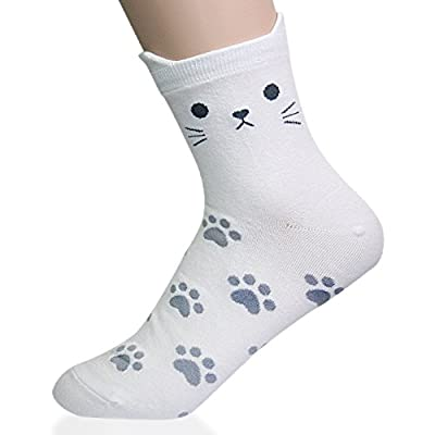 KONY Women's Girls Cute Cat Designed Funny Novelty Socks, Cat Paw Printed Cotton Casual Socks, Size 6-9 Gifts for Cat Lovers (Cat with Ears - 5 Pairs) at Women's Clothing store