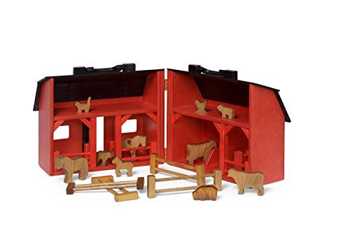 Amish-Made Wooden Red Toy Barn and Farm Animal Set