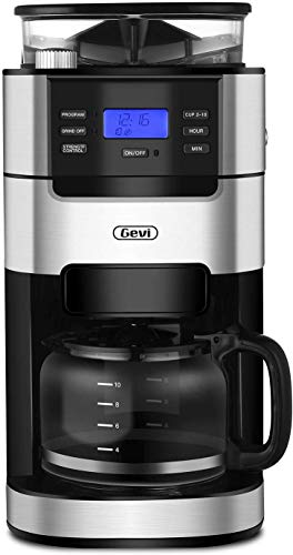 10-Cup Drip Coffee Maker, Grind and Brew Automatic Coffee Machine with Built-In Burr Coffee Grinder, Programmable Timer Mode and Keep Warm Plate, 1.5L Large Capacity Water Tank, Removable Filter Basket(GECMA025-U-8), 900W, Black