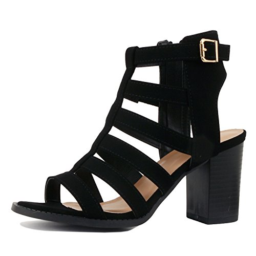 Black Chunky Heel - Guilty Shoes Womens Strappy Cut Out Gladiator - Open Toe Platform - Block Chunky Heeled Sandals (7 B(M) US, Blackv5 Pu)