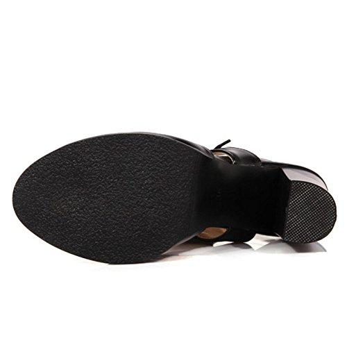 Moda Peep Tacco COOLCEPT A Sandali Cordoncino Toe Stivali Nero Alto con Blocco Scarpe Donna Tacco zEEw5