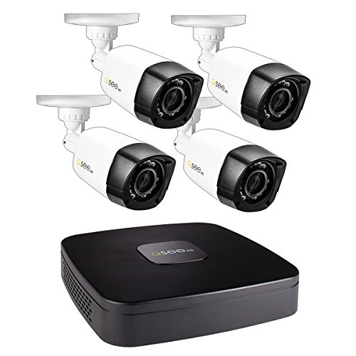 Q-See 4-CH 1080P Analog HD DVR, 4-720P BNC Plastic Metal Bullet Cameras, No Hard Drive Included (QC4-4GX)