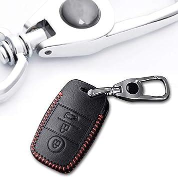 Image ofCarcasa Cuero para Llave KIA 3 Botones Llave Control Remoto Inteligente línea roja con Llaveros 1 PC Modelo A