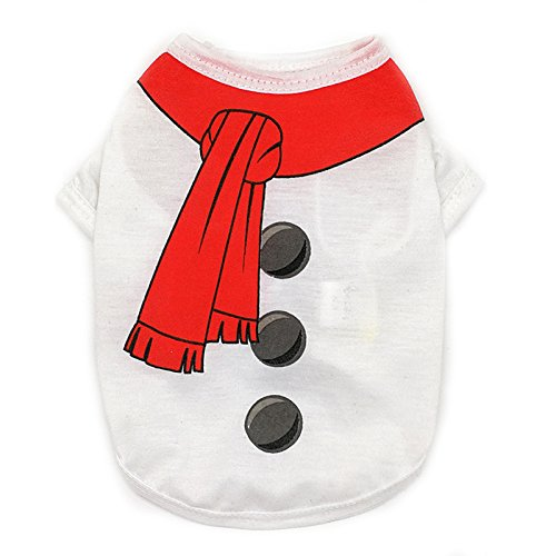 Ollypet Pack of 2 Christmas Clothes for Dogs - Warm Soft 100% Cotton Pet Santa & Snowman Costume - Festive Christmas Themed Dog Sweaters for Dogs and Cats, Autumn & Winter M