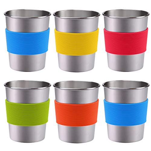 (Resinta 6 Pack 8 oz Stainless Steel Cups with Silicone Sleeve Metal Pint Tumbler Unbreakable Drinking Cups for Kids and Adults (6, 8 oz))