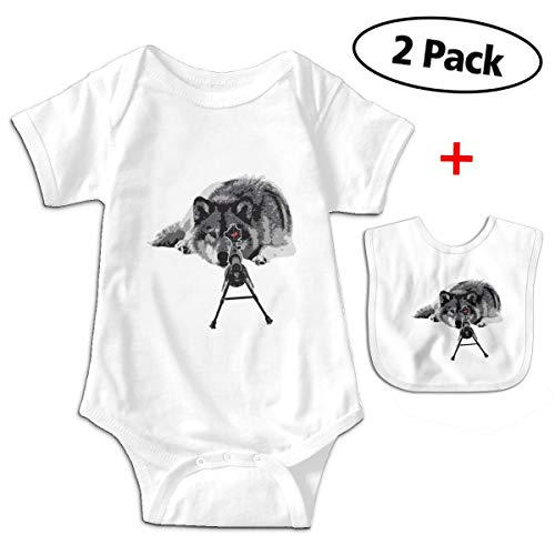 Cool Wolf Tactical Sniper Unisex Baby Short-Sleeve Onesies One-Piece White ()