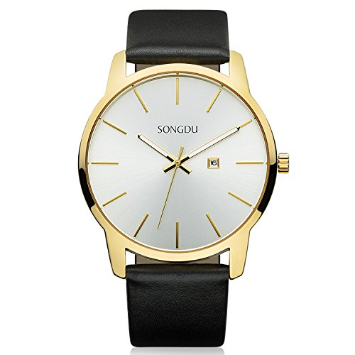 Face Leather Strap Watch - SONGDU Big Face Men's Gold Analog Date Stainless Steel Black Leather Strap Wrist Watch