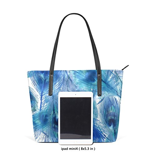 COOSUN Blue Peacock Feather Muster PU Leder Schultertasche Handtasche und Handtaschen Tasche für Frauen