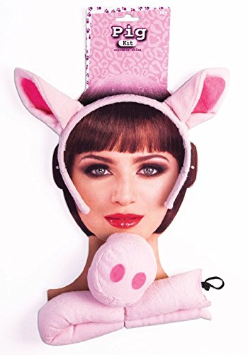 [Pink 3 Little Piggys Pigs Pig Nose Ears Tail Costume Farm Animal Accessory Kit] (Little Pig Costumes)