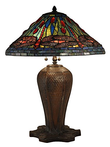 Table Tiffany Lamp Cardinals (Dale Tiffany TT15107 Three Light Table Lamp, Antique Bronze Finish with Cardinal Dragonfly Glass)