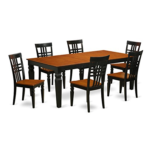 East West Furniture LGLG7-BCH-W 7Piece Table & Chair Set with One Logan Table & Six Dining Chairs in black & Cherry Finish
