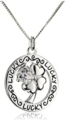 "Sterling Silver Circle ""Lucky"" Four Leaf Clover with Heart Shaped Cubic Zirconia Pendant Necklace, 18"""