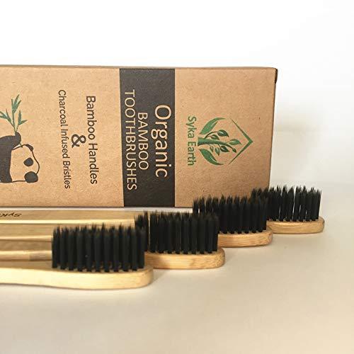 Cepillo de dientes de bambú natural con cerdas infundidas de carbón vegetal | 100% biodegradable | Paquete familiar de 4 cepillos de dientes | Cerdas duras ...
