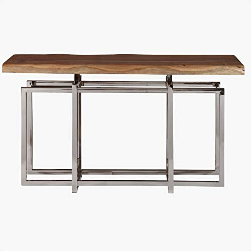 Fitz 55″ Solid Wood Console Table, Base Material: Metal, Polished Stainless Steel Legs and Frame