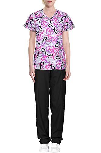 (Green Town Women's Printed Medical Scrub Set Wrap Top and Cargo Pants Grey Black Ribbon XS)