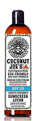 Zinc Oxide Sunscreen from Coconut Joe's | Natural & Organic Sunscreen Lotion, Mineral Sunscreen, SPF 30, Natural Sunscreen, 8 ounce bottle