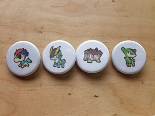5x Pokemon Collectible 1'' inch Buttons - Keldeo Cobalion Terrakion Virizion Evolution Set - Custom Made - Pin Back - Gift Party Favor by Legacy Pin Collection