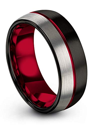 Chroma Color Collection Tungsten Carbide Wedding Band Ring 8mm for Men Women Red Interior with Red Center Line Dome Black Grey Half Brushed Polished Comfort Fit Anniversary Size 14