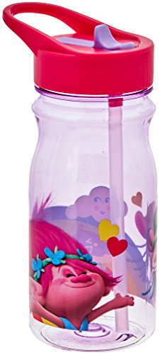 Zak Designs Trolls Movie 16 oz. Water Bottle with Straw, Poppy & Cooper ()