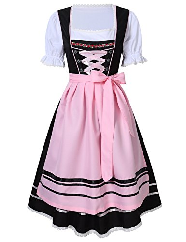 Costume Beer German Pattern Girl (KoJooin Women's German Dirndl Dress 3 Pieces Oktoberfest Costumes Black-pink)