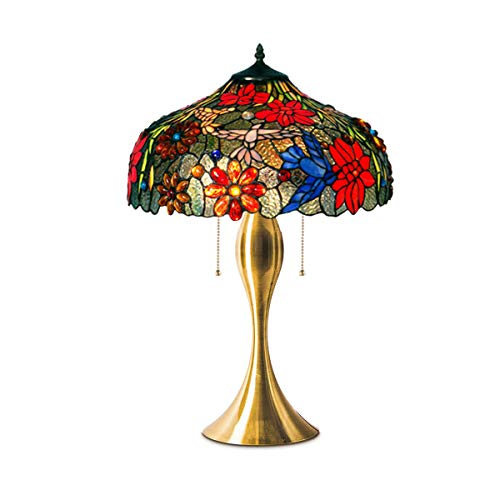 (GDLight Tiffany Style Floral Table Lamp European Romantic Flower Phoenix Bird Stained Glass Desk Lamp for Coffee Living Room Bedroom, 16-Inch,A)