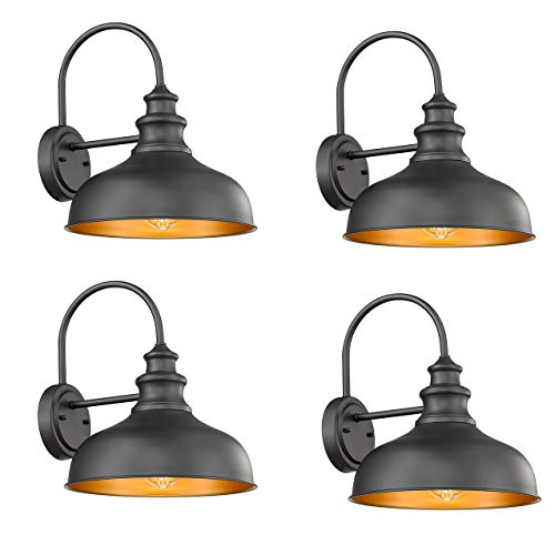 Bestshared Outdoor Wall Sconce, 1-Light Outdoor Oil Rubbed Lantern for Porch with Contrast Color Interior (4 Pack)