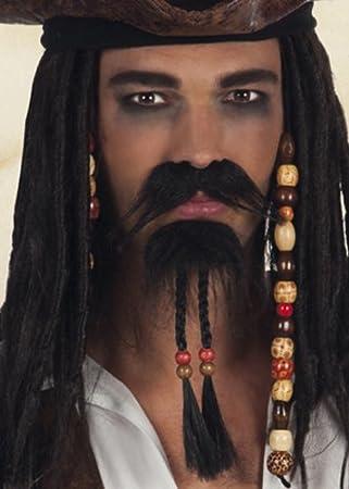 Bigote y barba de pirata Jack Sparrow: Amazon.es: Juguetes y juegos