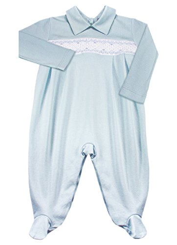 Dakomoda Baby Boys' 100% Organic Pima Cotton Overall Smocked Blue Footie, Easter Overall 0-3 Month Mom Baby Ultrasoft Onesie