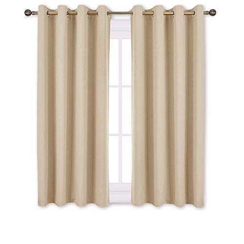 NICETOWN Bedroom Curtains Room Darkening Drapes - Biscotti Beige Curtains/Panels for Bedroom, Grommet Top 2-Pack, 52 x 45 Inch Long, Thermal Insulated, Privacy Assured (Curtains Short Wide)