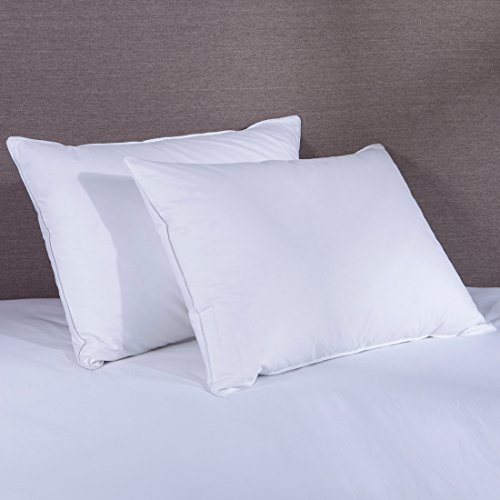 Puredown Goose Down and Feather Pillow  Bed Pillows Set of 2 for Sleeping, 70% Feather And 30% Down, White, 100% Cotton Cover,