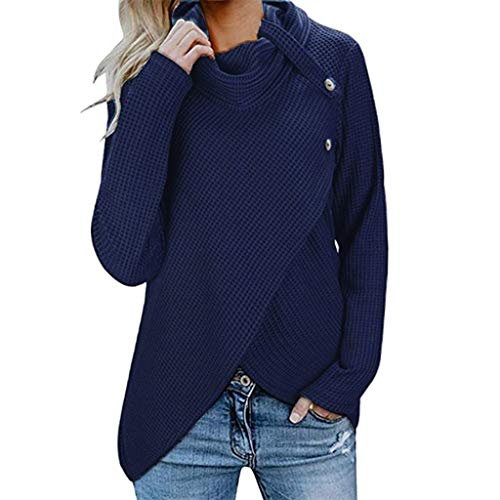 Onefa Womens Sweaters Long Sleeve Button Cowl Neck Casual Knitted Pullover Tunic ()