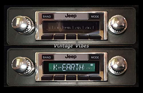 High-Power Stereo Compatible with 1978-1986 Jeep CJ & Scrambler, AM FM Car Radio with Auxiliary Input and USB (Chrome Knobs)