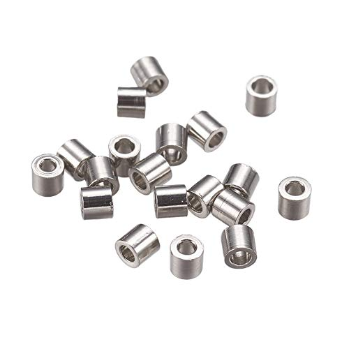 PH PandaHall 500pcs Stainless Steel Tube Crimp Beads Cord Cover Tips End Column Jewelry Findings