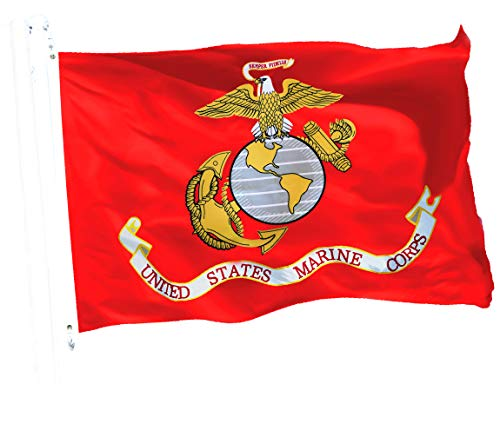 Grommets Polyester Printed - G128 - USMC US Marine Corps United States Marine Corps Flag 3x5 ft 150D Quality Polyester Printed Brass Grommets Indoor/Outdoor