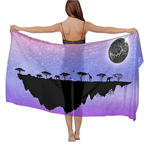 Women's pace Elephant Giraffe Moon Island Purple Beach Bikini Cover-up