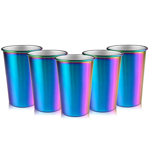 Rainbow Party Cups, Kereda Stainless Steel Cups 16oz 5-Pack Premium Drinking Glasses Unbreakable Colorful Tumblers BPA Free Eco - Cup Picnic