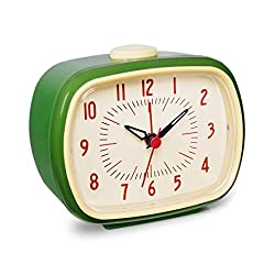 Slash Vintage Retro Old Fashioned Quiet Non-ticking Sweep Second Hand, Quartz Analog Desk Clock, Battery Operated, Loud Alarm (Emerald Green)