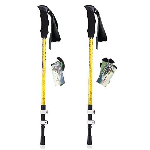 DAOTS Carbon Fiber Trekking Poles Walking Hiking Sticks for Walking Hiking,1 Pair (Yellow)