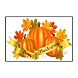 Hua Wu Chou Living Room carpetcarpet pad 24'x36'inch Happy Thanksgiving Greeting Card Pumpkins and Maple Leaves on White Background Fall Harvest Celebration Vec