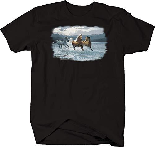Water Stallion T-shirt - Three Stallion Horses Galloping Through Ocean Water Mountains Tshirt - 6XL Black