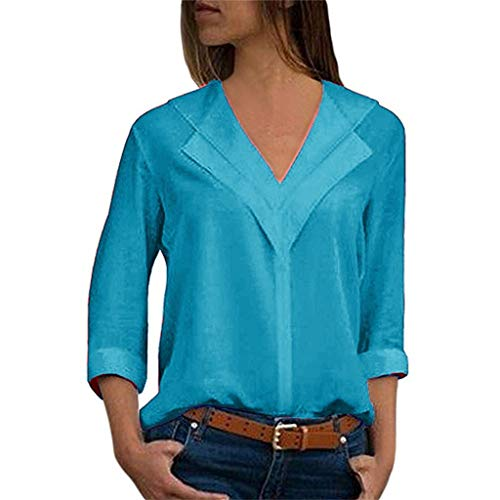 Driuankeji Women's Chiffon Solid Tops V-Neck Comfortable Office T-Shirt Ladies Roll Sleeve Fashion Blouse Green