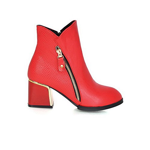 AgooLar Women's Solid PU Kitten Heels Zipper Pointed Closed Toe Boots Red 6fDwyBlh4O