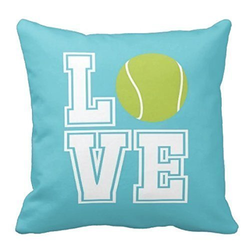 LOVE Tennis Throw Pillow Cover, Tennis Ball, Custom Decor, Boys, Aqua and White - ANY COLORS, 16x16 (Exchange On Sale Armani)