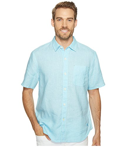 - Tommy Bahama Men's Sea Glass Breezer S/S Camp Shirt Dark Tile Large