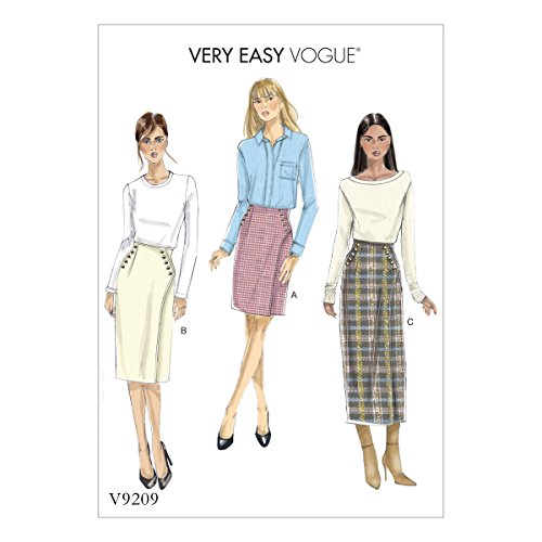 (Vogue Patterns V9209A50 Learn Button Wrap Skirt Sewing Pattern for Women, Sizes)