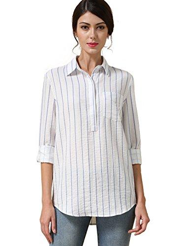 Stripe Long Sleeve Button - 4
