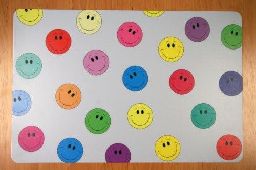 Schreibtischunterlage viele kleine Smiley bunt 40 x 60 cm abwischbar gelb blau rot grün